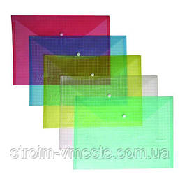 Папка конверт на кнопке прозрачная 4OFFICE 4-203 А4 PP цвета в ассортименте