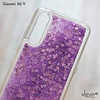 Чехол аквариум с плавающими блестками для Xiaomi Mi 9 (фиолетовые блестки), фото 1