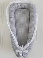 """🔥Позиционер для новорожденных """"Joy"""" серый горошек с белым кружевом (шитьё)🔥позиционер, гнездо позиционер, для новорожденных, позиционер для"""