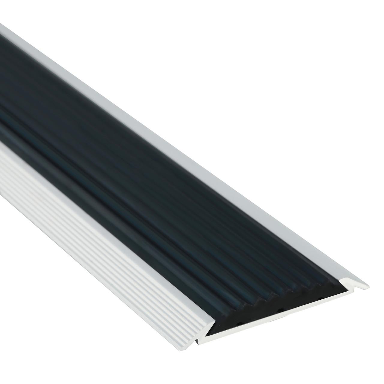 Алюминиевый профиль одноуровневый рифленый с противоскользящей вставкой без покрытия 50мм х 1 м (10 шт в уп)