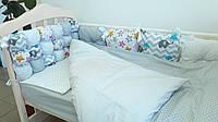 """🔥Комплект в кроватку 120*60 """"Joy"""" комбинированный (6 ед) серый🔥детский комплект постельного белья в кроватку, детская комната, Для уюта в детской,"""