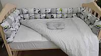 """🔥Комплект в кроватку 120*60 """"Joy"""" бомбон (6 ед) серый🔥детский комплект постельного белья в кроватку, детская комната, Для уюта в детской, мамина"""