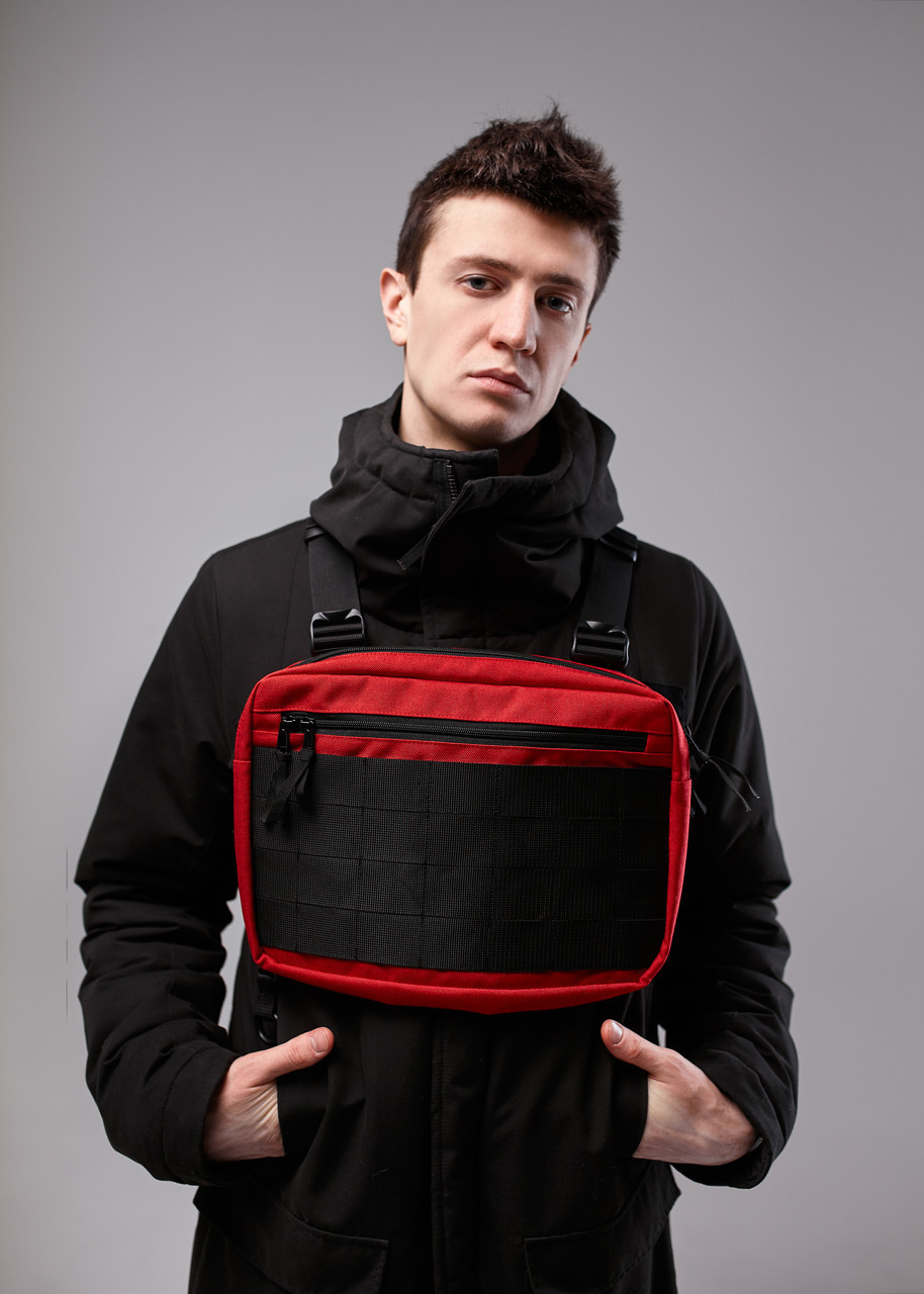 Нагрудная сумка Chest Rig/броник «Stockton» Bad Monkey, цвет красный