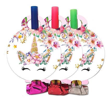 Язычки гудки Единорог в цветах  6 штук