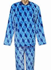 Теплая махровая пижама мужская домашняя зимняя кофта со штанами (велсофт)