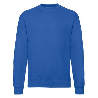 Хлопковый мужской зимний пуловер на флисе ярко-синий - S, M, L, XL, 2XL