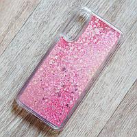 Чехол аквариум с плавающими блестками для Xiaomi Mi 9 (розовые блестки)
