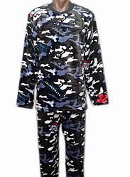 Зимняя махровая пижама мужская домашняя зимняя кофта со штанами (велсофт)
