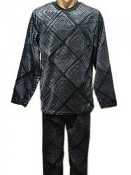 Пижама мужская махровая теплая домашняя зимняя кофта со штанами (велсофт)