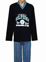Мужская пижама хлопковая трикотажная домашняя кофта с брюками для дома