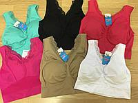 Футболки майки женские. Топы-Бра цветные из хлопка размер 46-52 (7008)