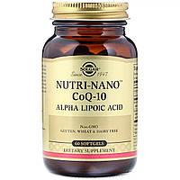 Коэнзим и Альфа Липоевая Кислота, Nutri-Nano CoQ-10 Alpha Lipoic Acid, Solgar, 60 капсул