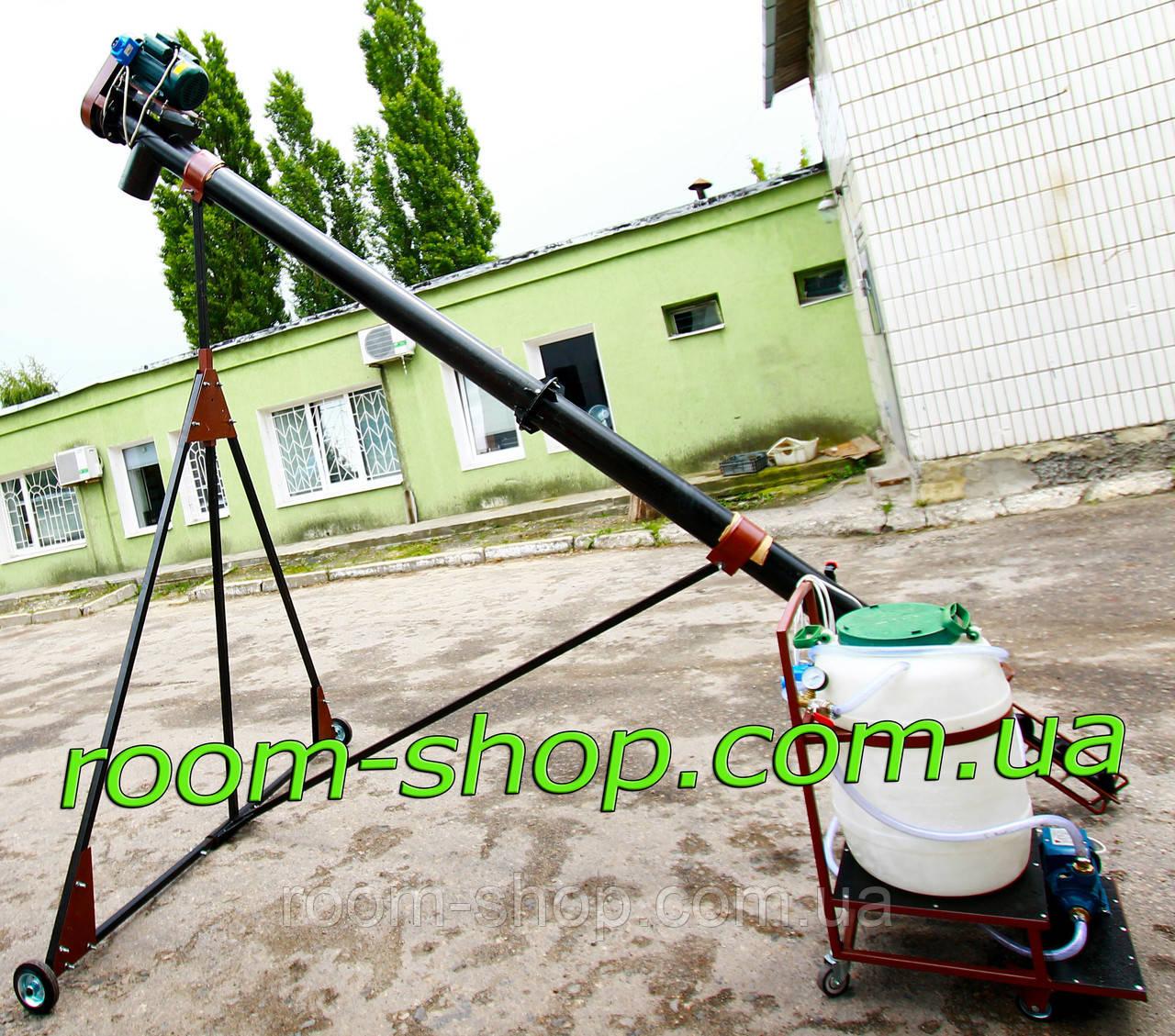 Шнековый погрузчик (перегрузчик) диаметром 110 мм на 6 метров, с протравителем семян