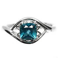 Серебряное кольцо с Лондонским топазом, 6*6 мм., 1136КТ