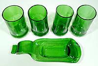 Набор посуды из зеленых стеклянных бутылок пьяных стакана + глубокая пиала #01