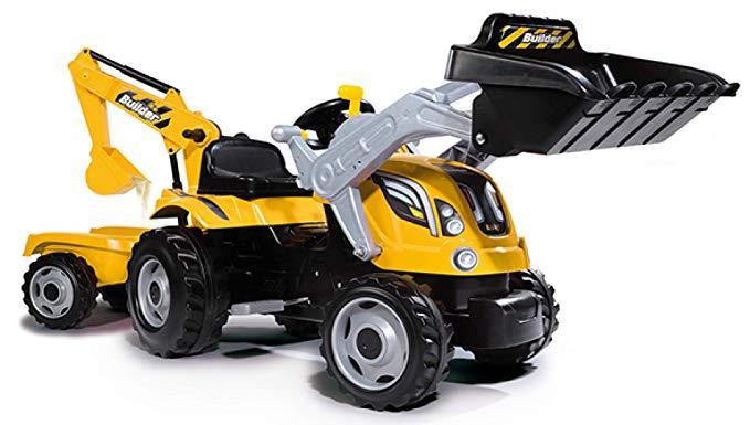 Трактор детский педальный с двумя ковшами и прицепом Max Smoby 710301