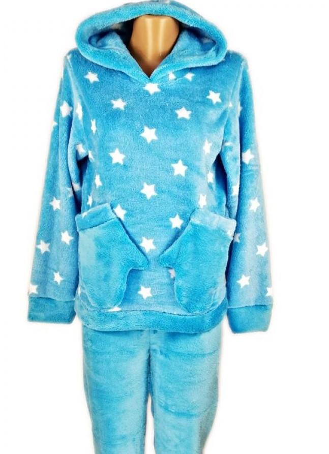 Женская махровая пижама с брюками (велсофт) теплая зимняя с капюшоном