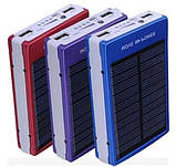 Повер банк Power Bank 30000 mAh на солнечных батареях 2 USB, фото 4
