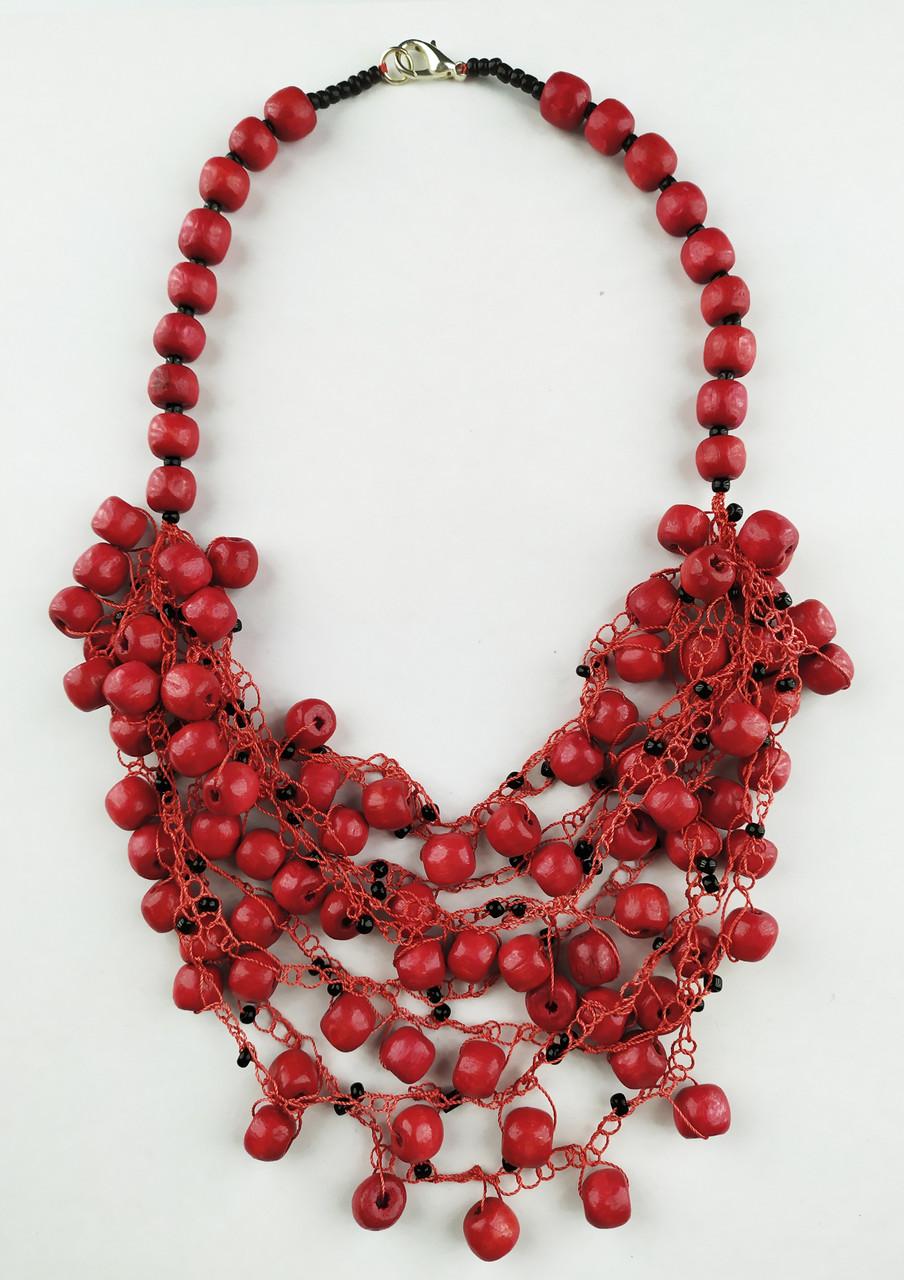 Красные с черным бусы корали