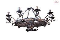 Люстра круглая на дереве на 10 ламп кованая потолочная