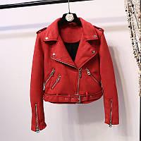 Женская замшевая куртка косуха AFTF BASIC красная M, фото 1