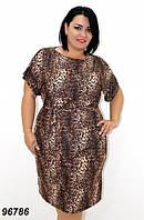 Легкое летнее платье с поясом, микромасло  50,52,54,56, фото 1