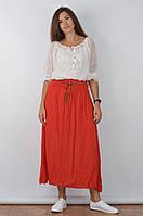 Летняя юбка в пол красного цвета с тонким плетенным поясом в комплекте, размер M/XL, арт. 16000