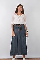 Летняя юбка в пол пепельного цвета с тонким плетенным поясом в комплекте, размер M/XL, арт. 16000