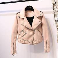 Женская замшевая куртка косуха AFTF BASIC розовая L, фото 1