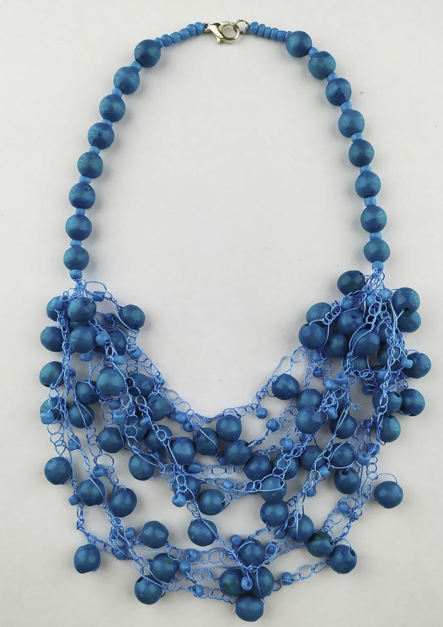 Синие бусы к вышиванке