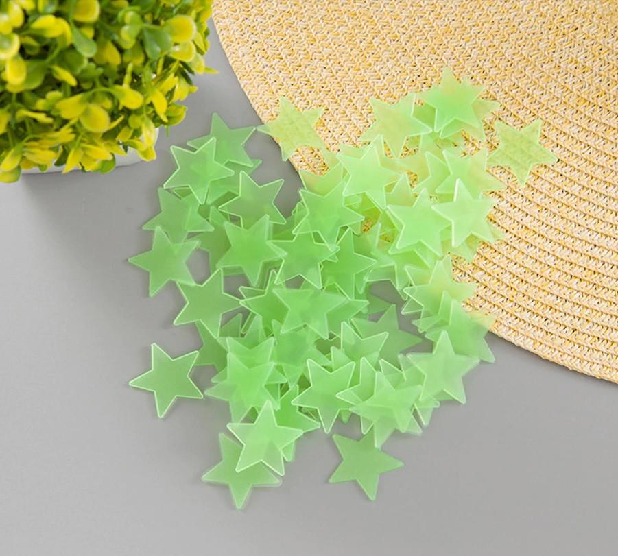 Светящиеся звезды, комплект 100 шт. зеленые