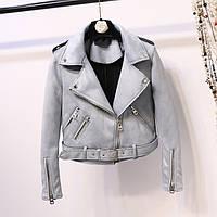 Женская замшевая куртка косуха AFTF BASIC голубая M, фото 1