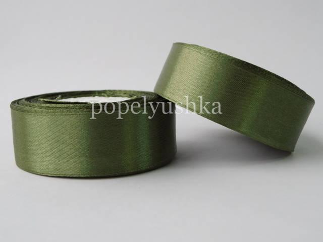 Стрічка атласна 2,5см темно-зелена