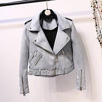 Женская замшевая куртка косуха AFTF BASIC голубая L, фото 1