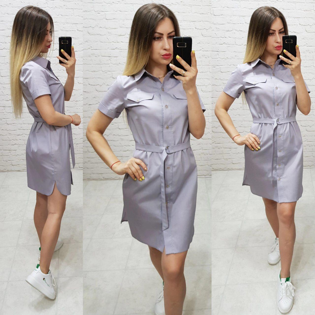 Платье - рубашка с поясом  арт. 171 / серого цвета / цвет серый