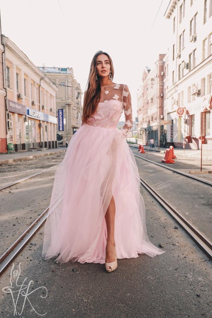 Роскошное женское платье в пол верх из сетки с красивой открытой спинкой и пышная юбка из фатина С, М