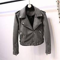 Женская замшевая куртка косуха AFTF BASIC графит (темно серая) L, фото 1