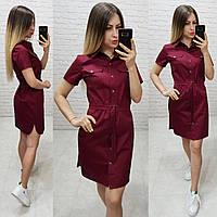 Платье - рубашка с поясом  арт. 171 бордового цвета / бордо / марсала / вишня