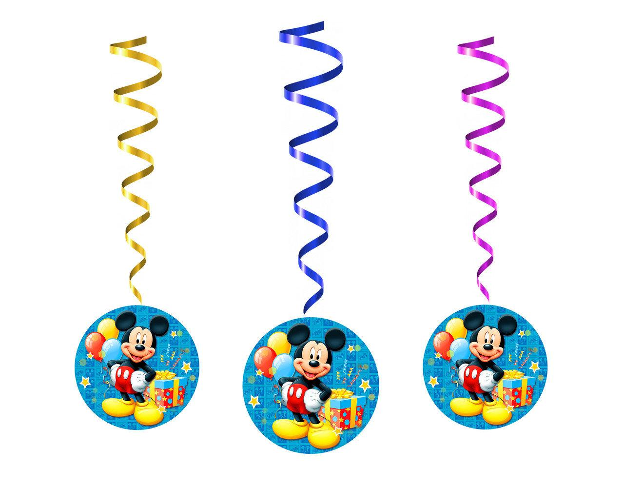 Бумажные гирлянды на спиральках Микки Маус 5 шт.