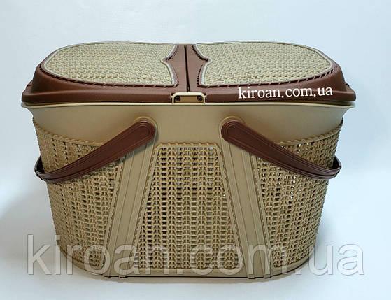 Корзина для пикника Евро-вязка, цвет- коричневый, Irak Plastik (Турция) 28см высота, фото 2