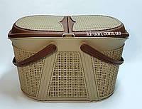 Корзина для пикника Евро-вязка, цвет- коричневый, Irak Plastik (Турция) 28см высота