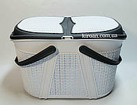 Корзина для пикника Евро-вязка, цвет-белый с серым, Irak Plastik (Турция) 28см высота