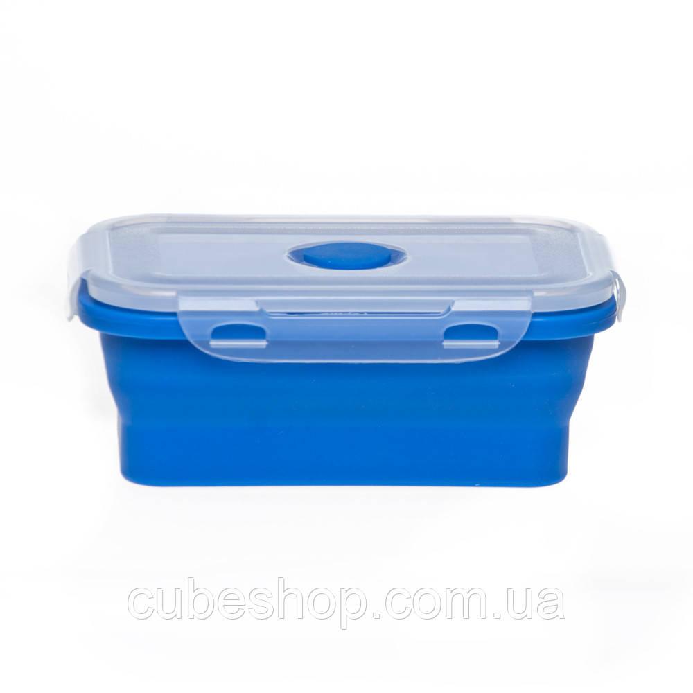 Ланчбокс складной силиконовый (синий) 450 мл