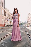 Шикарное женское шифоновое платье в пол верх расшит жемчугом С, М