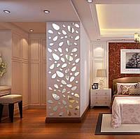 Зеркальные наклейки 12шт – «Камни». Акриловый 3D декор на стену – ХРОМ.