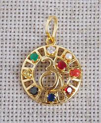 Кулон золотистый круглый с символом Ом Навратна