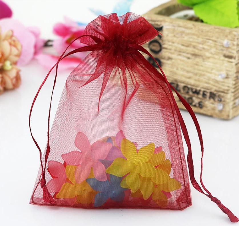 Мешочек из органзы /размер 7х9 см./ упаковка подарков/ цвет бургунди