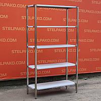 Стелаж з нержавіючої сталі виробничий на 5 полиць 100х40х180 див., фото 1