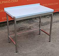 Стол из нержавеющей стали производственный с бортом без полки 100х60х85 см.