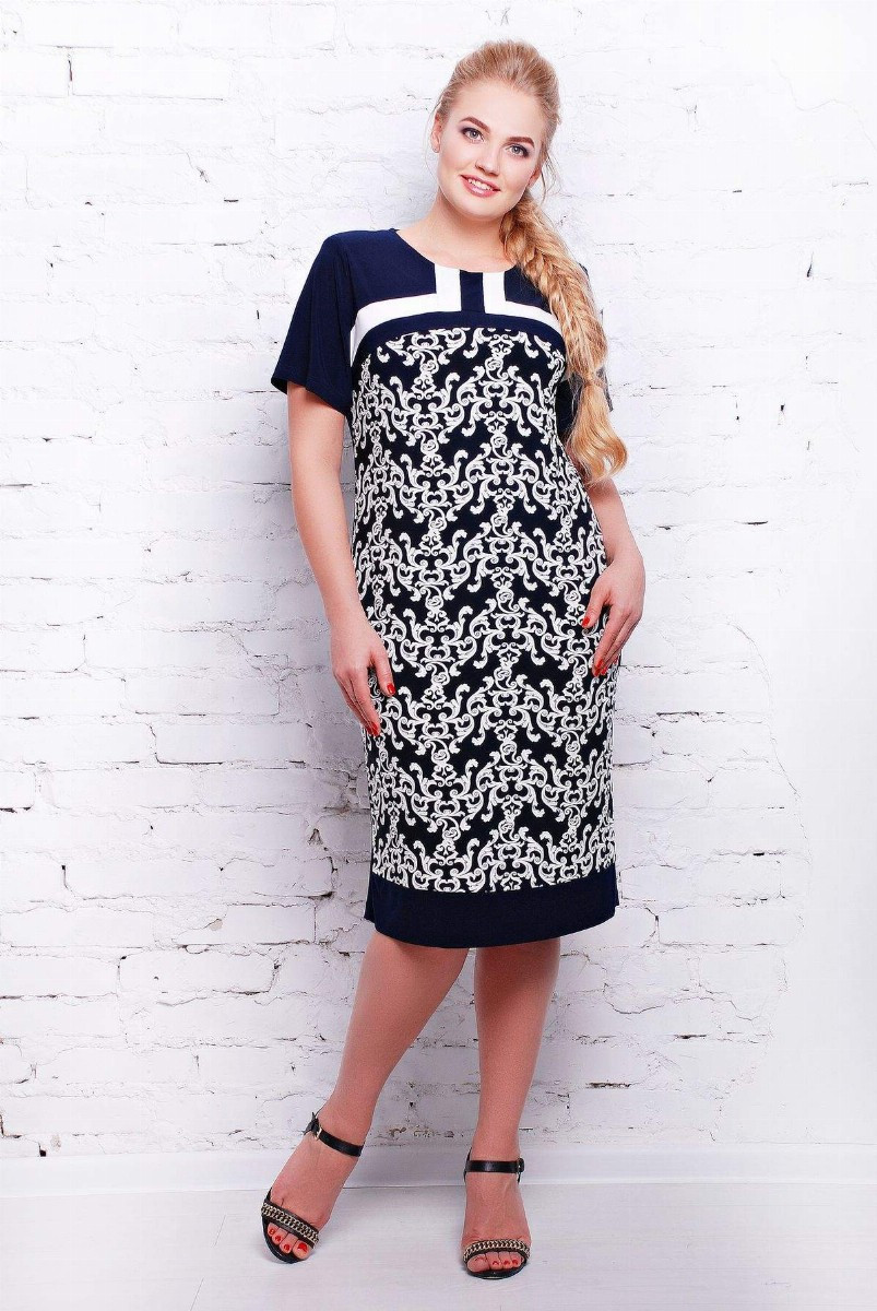 Платье из трикотажа ВЕНЕЦИЯ темно-синее